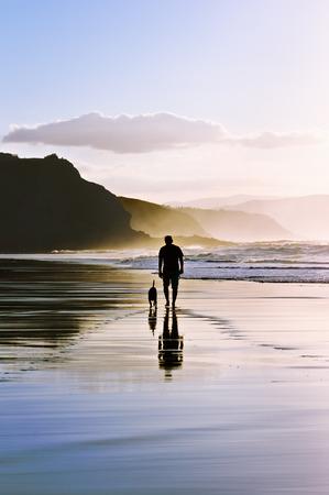 reflexion: hombre que camina el perro en la playa Foto de archivo