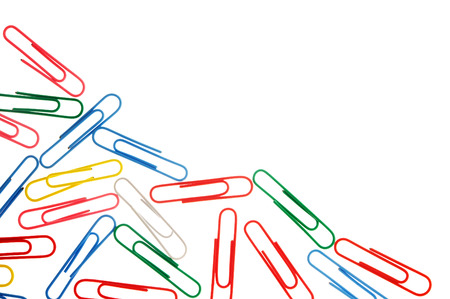 paper clips: many colorful paper clips isolated on white with copy space