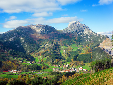 Landscape with mugarra mountain. Basque Country Stok Fotoğraf