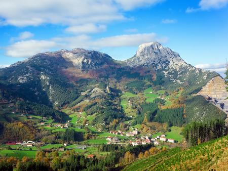 Landscape with mugarra mountain. Basque Country Standard-Bild