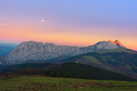 Anboto mountain range at the sunset