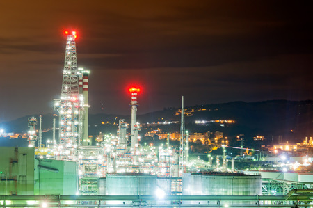 gas plant: industrial refinery plant at night