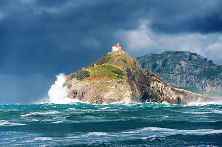san juan de gaztelugatxe with rough sea. Basque Country Stok Fotoğraf