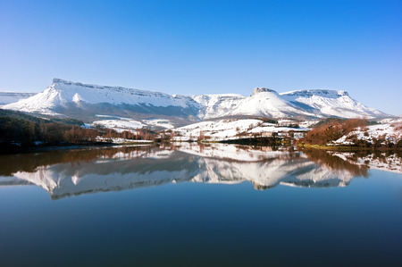 basque country: Sierra Salvada with lake reflections. Basque Country