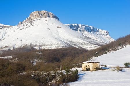 alava: winter landscape with Ungino mountain peak