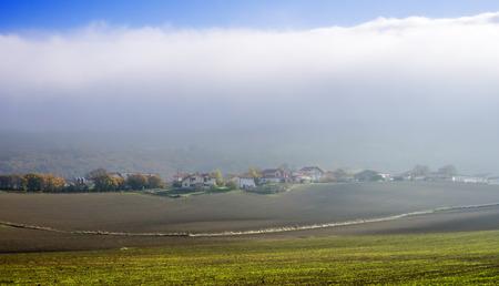 alava: Pueblo Opakua con niebla. �lava, Pa�s Vasco