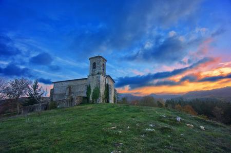 alava: Church in Bitoriano at sunset. Alava, Basque Country