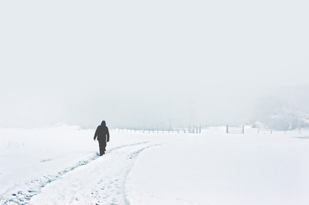 person walking alone on snowy winter landscape