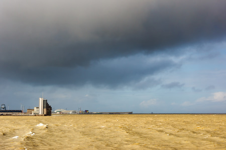 control tower: maritime control tower with stormy clouds