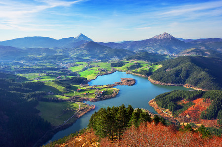 view of Urkulu reservoir in Basque Country Stok Fotoğraf