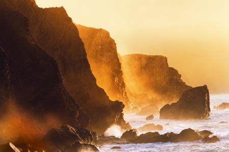 misty cliffs in the basque country coast near Bermeo