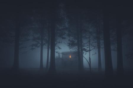 eng huis in het mysterieuze griezelbos 's nachts Stockfoto