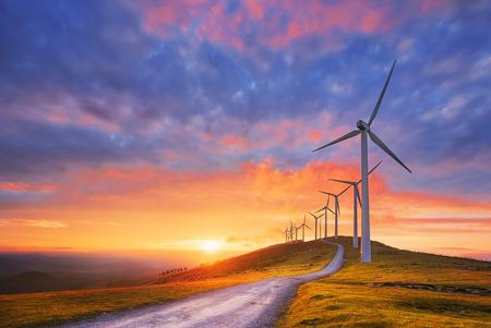 Duurzame energie met windturbines Stockfoto - 94031965