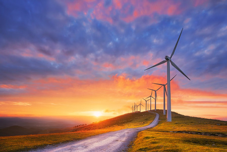 renewable energy with wind turbines 版權商用圖片 - 94031965