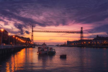 Hanging bridge of Vizcaya at the night 스톡 콘텐츠