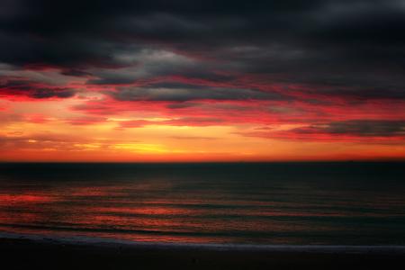 dark sunset on the sea