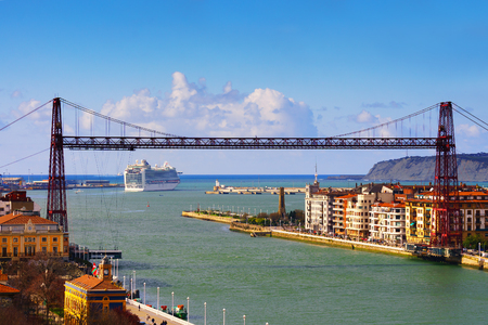 view of Getxo and hanging bridge Stok Fotoğraf - 97729711