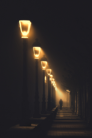 person walking on dark street illuminated with streetlamps Фото со стока