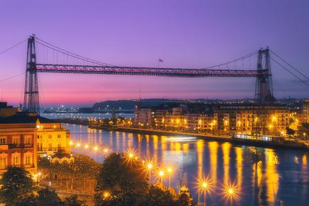 Hanging bridge of Vizcaya at the night Stock Photo