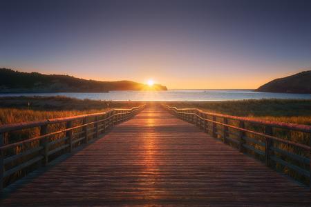 Gorliz boardwalk to the beach at sunset 版權商用圖片