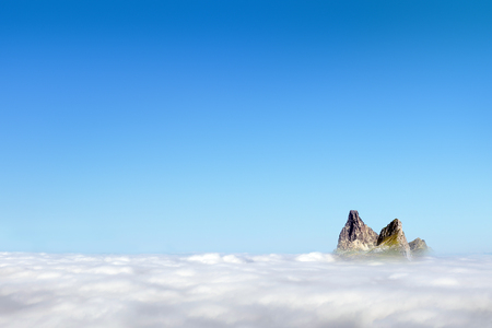 Landscape with copy space of Midi peak in Pyrenees and blue sky