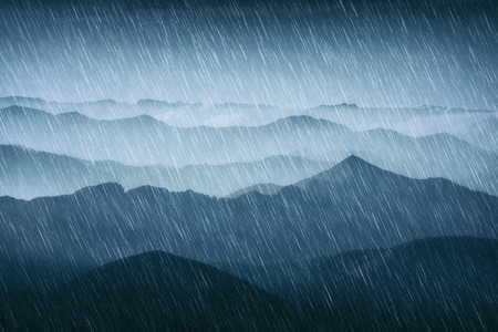 rain in the mountains with cold weather