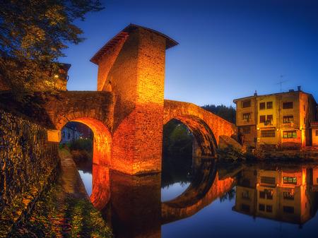 Balmaseda bridge illuminated at night Stock Photo