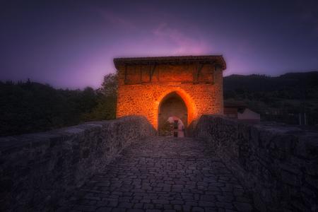 Balmaseda old bridge at night