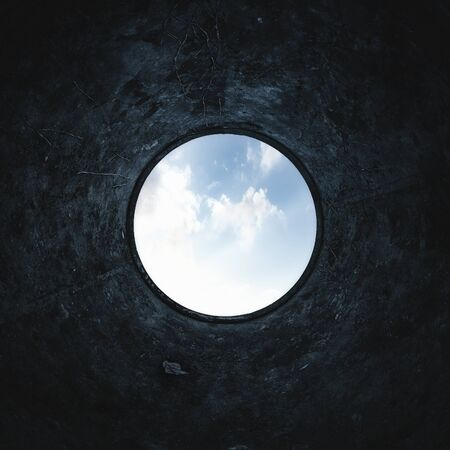 Underground background of inside a scary water well