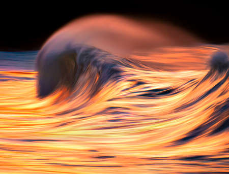 Photo of wave water textures at sunset with in camera panning technique