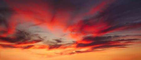 background of cloudscape with red clouds at sunset on sky