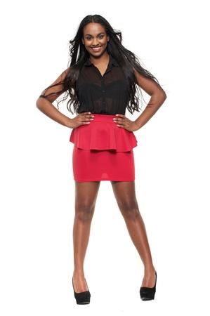 black woman face: Beautiful isolated full length mixed race model Stock Photo