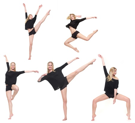Five dancers in different poses photo