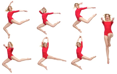 Seven dancers in different poses photo
