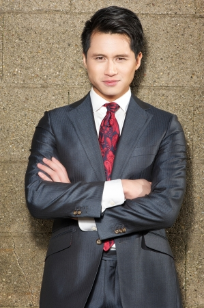 asian american: Portrait of a handsome young businessman