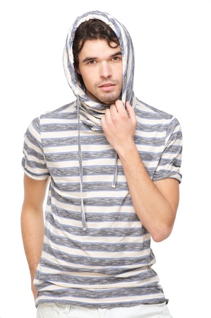hooded sweatshirt: Handsome male model with striped hooded sweatshirt  Isolated on white background