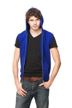 male fashion model: Retrato de una modelo masculino llevaba una sudadera con capucha azul. Aislado sobre fondo blanco