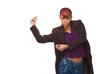 Dancing African American woman enjoying music and snapping fingers. Horizontal portrait isolated on white background photo