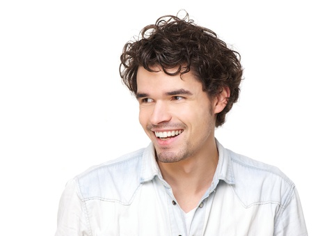 european expression face: Horizontal portrait of a handsome young man smiling