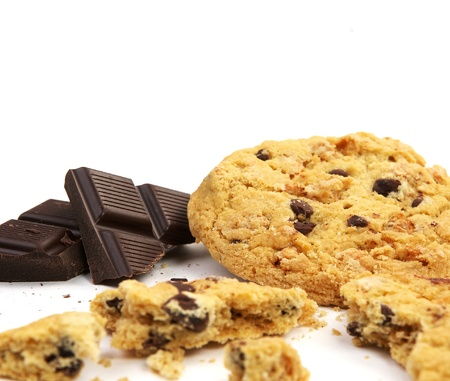 munchy: Chocolate chip cookie chunks and crumbs Stock Photo