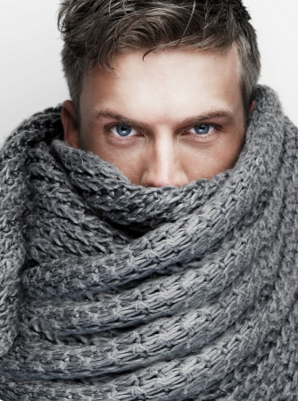 Close up portrait of scarf covering attractive face photo