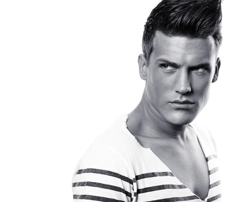 Close up Portrait von männlichen Fotomodell - schwarz und weiß