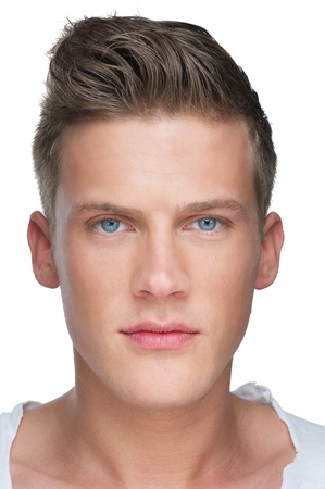 Close up portrait of a handsome young man photo