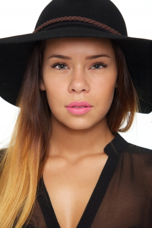 Close up face of beautiful woman with fashion hat photo