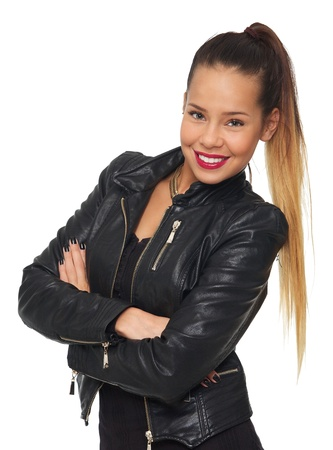 Glamorous woman in black leather jacket isolated on white background  photo