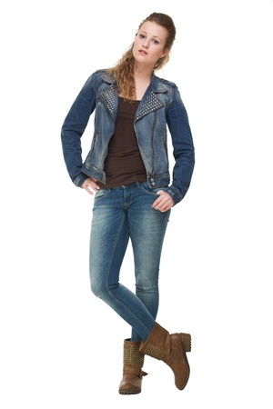 Portrait on young woman posing with hands in pocket Stock Photo - 18236622