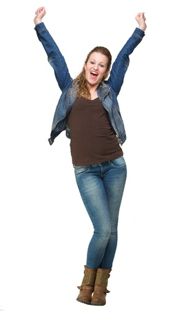 Portrait of a happy young woman with two hands in the air Stock Photo - 18236628