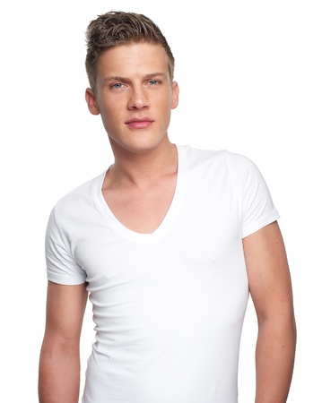 Portrait of a handsome man in white shirt Stock Photo - 18283049