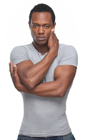 Portrait of an black fashion model with arms crossed photo