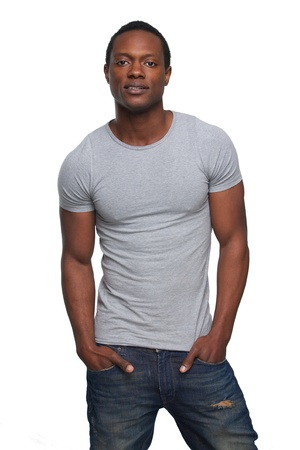 good looking: Portrait of an attractive african american man with hands in pocket